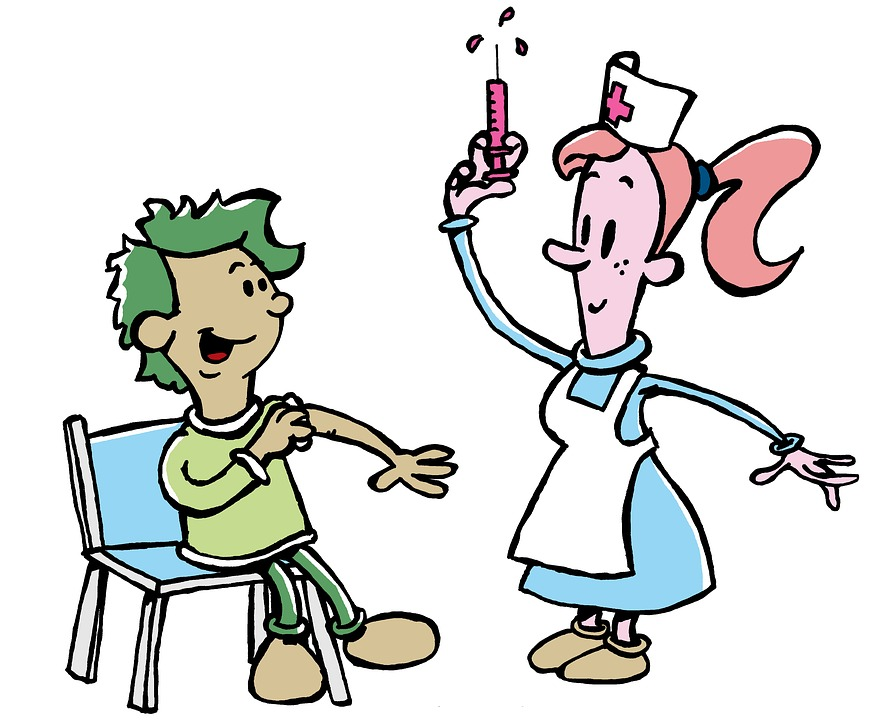 disegno infermiera fa vaccino a un bambino
