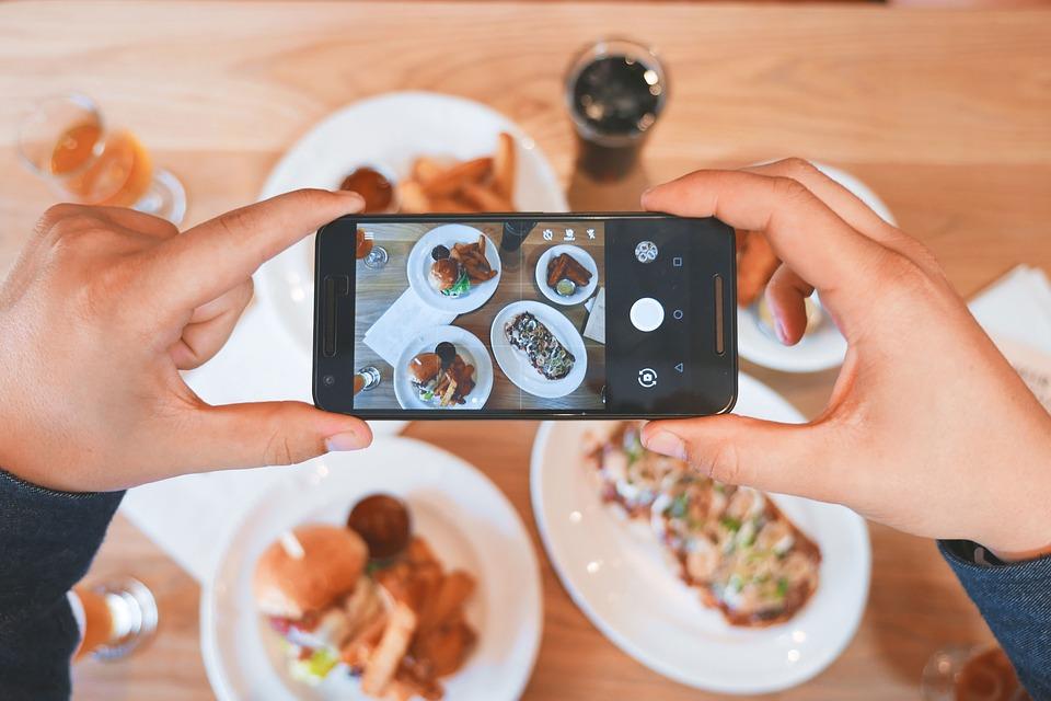 selfie al cibo