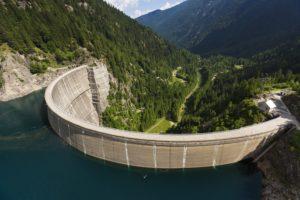 Energia idroelettrica. Centrale di Ganda - Diga di Frera