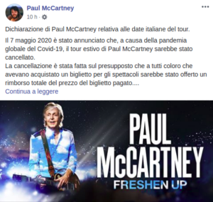 Paul McCartney sui voucher