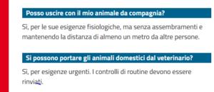 faq cura animali in zona rossa
