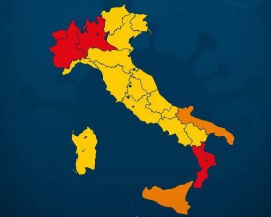 Giallo, arancione e rosso: i colori delle Regioni chiuse per Covid