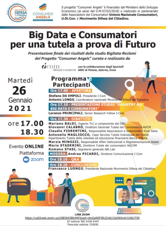 Big Data e consumatori, domani il Webinar nell'ambito del progetto Consumer Angels